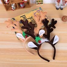 Рождественская повязка на голову Горячая Рождественская повязка на голову Санта Рождественские вечерние украшения двойная повязка на голову застежка головной обруч украшение Navidad