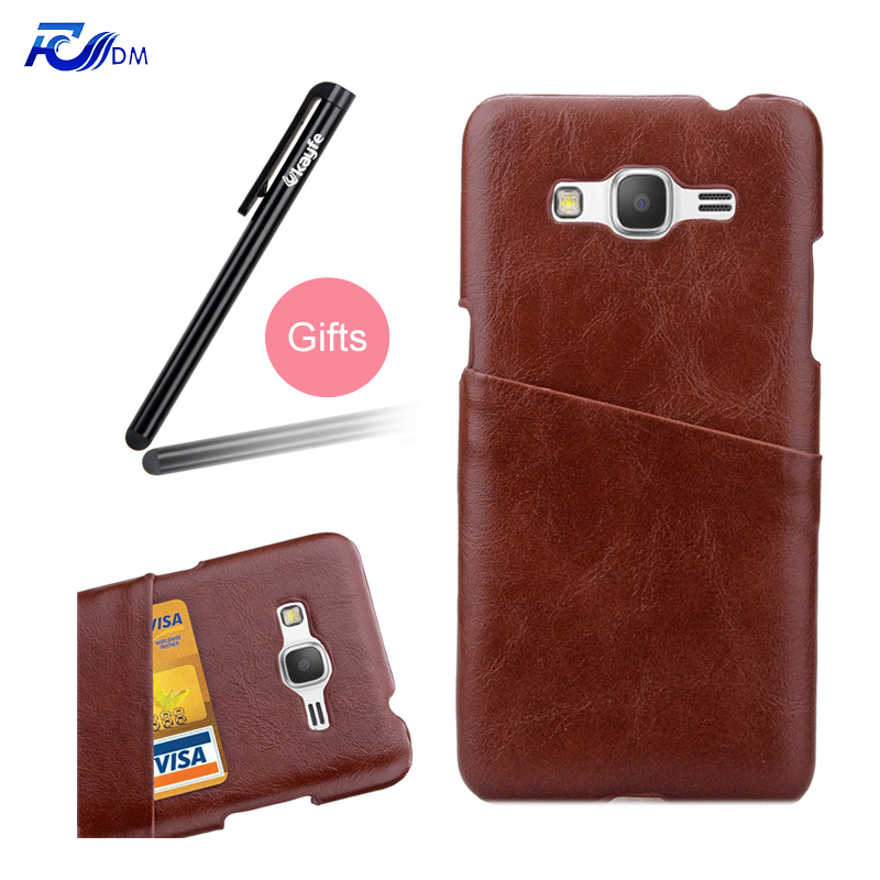 FDM New Business Style Colored Mobile Phone Case for Samsung G530 Cover with Card Bag with a Stand add Stylus Pen as Gift