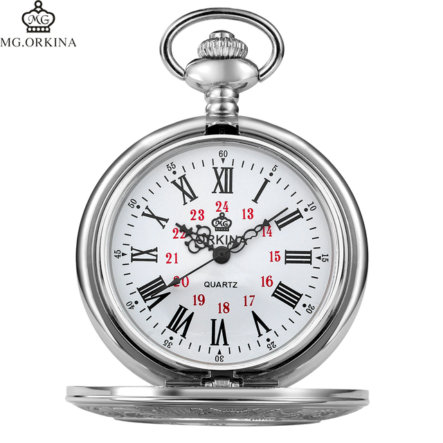 Best Gift For Men Women Roman Numerials Open Face Mechanical Carved Pocket Watch