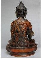 21 cm Old Tibetan Brass Buddhism Bodhisattva Sakyamuni Buddha Statue BRASS Copper Brass Protect akyamuni Buddha Statue