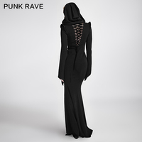 PUNK RAVE Gothic Women Casual Sexy Dress Long Sleeve Black Hooded Witch Cosplay Dresses Formal Evening Party Dresses
