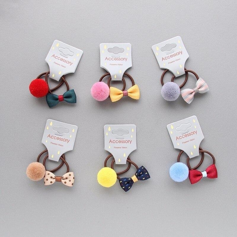 2 PCS New Bowknot Ball Princess   Headwear   Kids Elastic Hair Bands Baby Headdress Children Hair Ropes Girls Hair Accessories