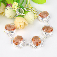 Top Best Price Seller Dazzling Shine Oval Synthetic Morganite Gems Silver Plated Chain Bracelets For Women