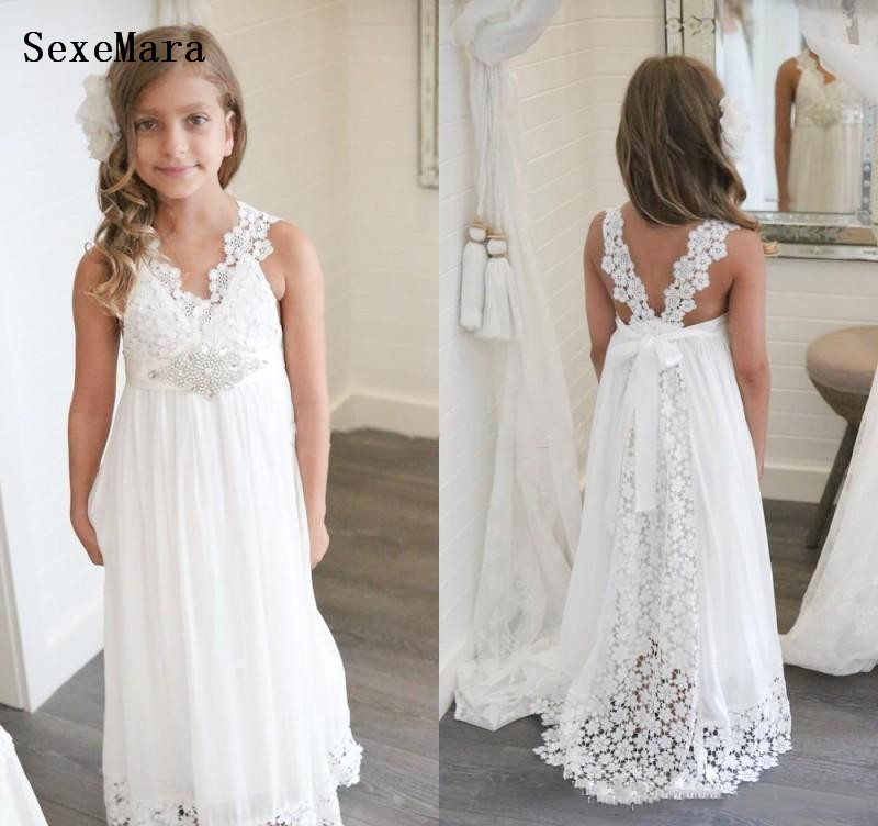 Princess Lovely Cute White Boho   Flower     Girl     Dresses   Daughter Toddler Kids Pageant   Dress   First Holy Communion Gown Size 2-14Y
