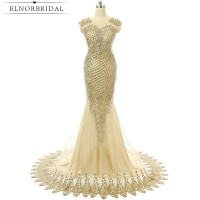 Vintage Gold African Evening Dress Mermaid Robe De Soiree 2017 Formal Imported Party Dress Embroidery Beading