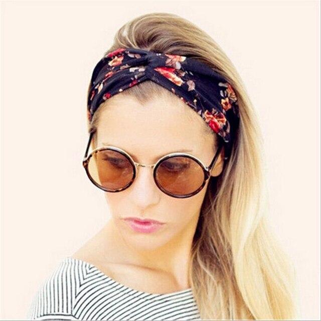 1 pc retro headband mulheres elastic turbante torcida atada headbands  floral étnica grande menina trecho yoga cee447d225f