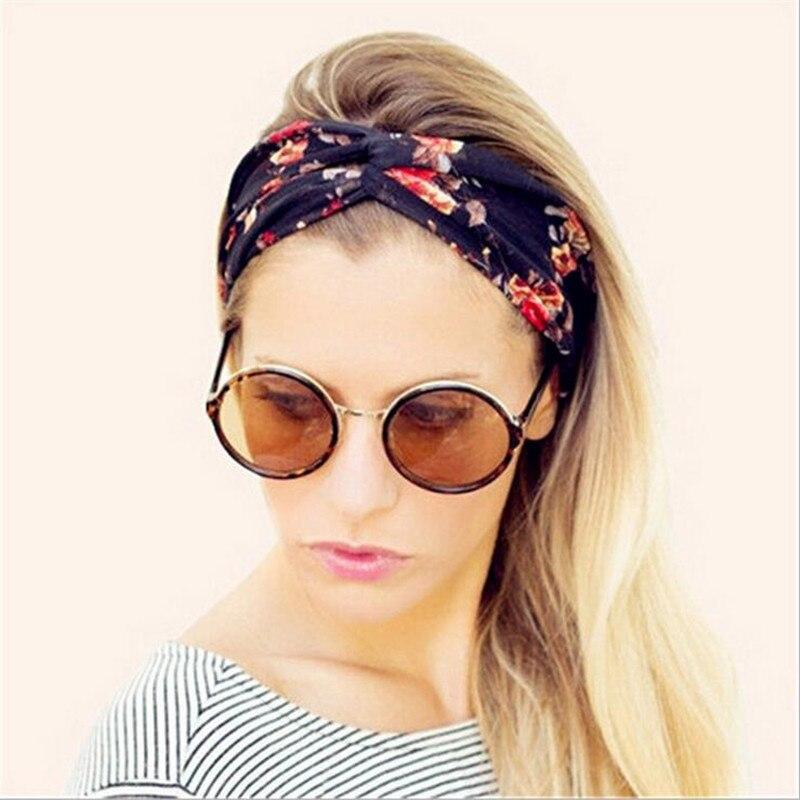 1 pz fascia retro delle donne elastico turbante contorto annodato fasce  etnico floreale ampio tratto della ragazza yoga accessori per capelli d1556b2052b7