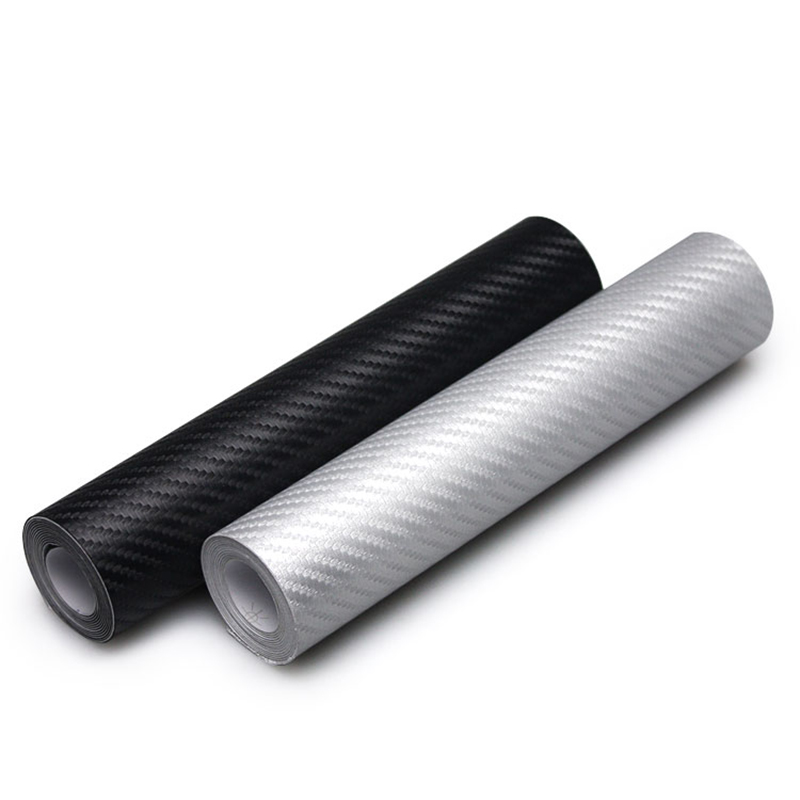 10x127cm 3D Carbon Fiber Vinyl Film Car Sticker Waterproof DIY Car Styling Wrap For Car Auto Vehicle Detailing Black Silver