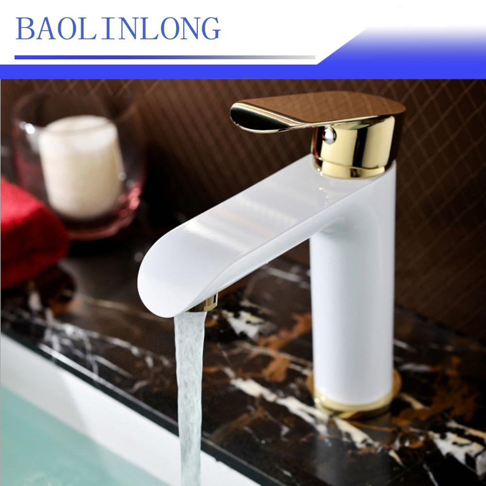 BAOLINLONG Baking Finish Style Brass Deck Mount Basin Bathroom Faucet Vanity Vessel Sinks Mixer faucets Tap
