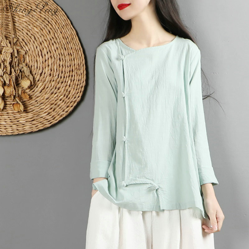 Traditional Chinese Clothing For Womens Tops And Blouses Shirt Oriental Female Cheongsam Top China Clothing  V1471