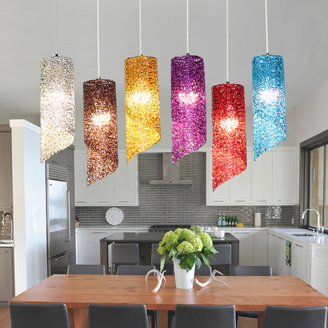 Stairs Lights Red White Blue Led Pendant Lamps Modern Dining Room Art Custom Double Rotating Stair