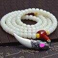 Tibetano KingKong Bodhi Branco Barrel Beads 108 Pulseiras Buda Oração Japa Mala Rosário Tibet Lasca Dente Jóias Acessórios