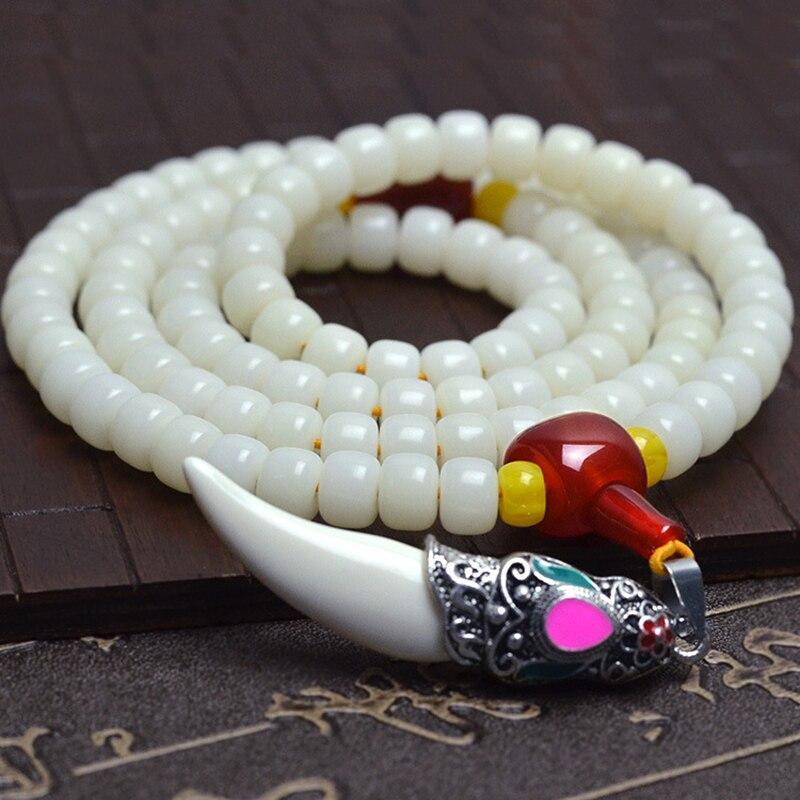 Tibetischen KingKong Weiß Bodhi Barrel Perlen 108 Rosenkranz Tibet Splitter Zahn Armbänder Buddha Gebet Japa Mala Schmuck Zubehör