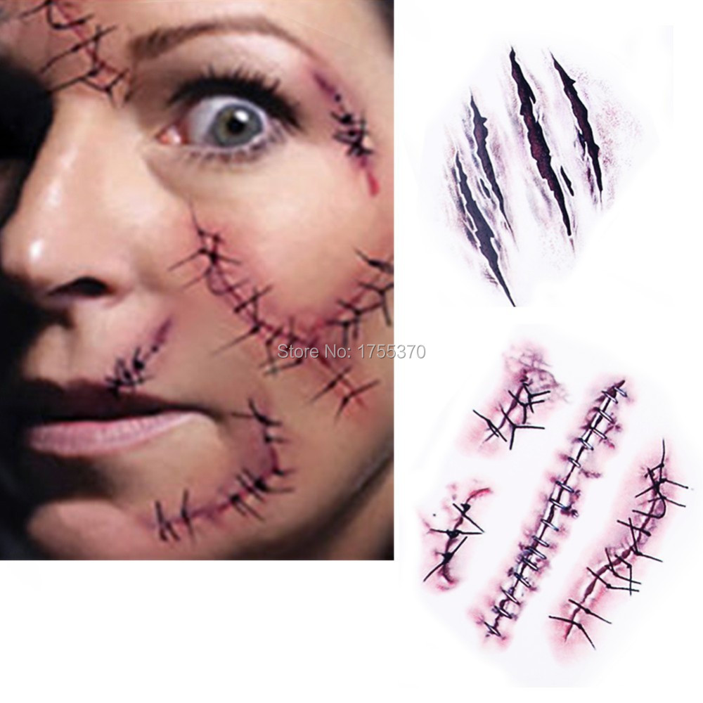 new waterproof temporary tattoo sticker halloween terror wound realistic blood injury scar fake tattoo stickers - Halloween Fake Wounds