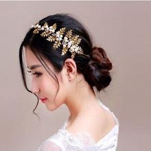 Hojas de oro con incrustaciones de cristal rhinestone de la perla barroca mujeres diademas accesorios para el cabello joyería de la boda tiaras de novia hechos a mano