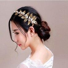 Baroque golden leaves inlaid rhinestone crystal pearl headbands women handmade bridal hair accessories tiaras wedding jewelry