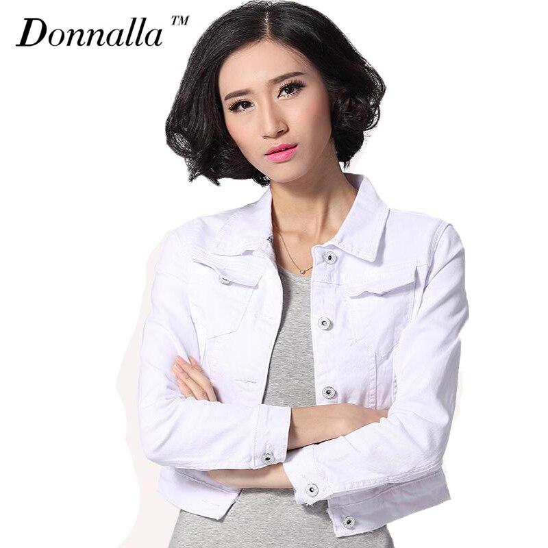 Denim Jacket Women Short <font><b>Jeans</b></font> Overcoat Ladies Jackets Tops Turn Down Collar Slim White Black <font><b>Jeans</b></font> Top For Women High Quality