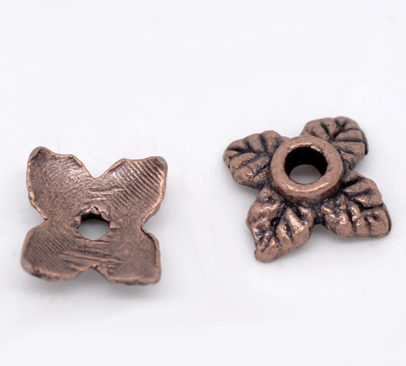 DoreenBeads Zinc Metal Alloy Beads Caps Four Leaf Clover Antique Copper(Fits 10mm-14mm Beads)Leaf Pattern 8mm X 8mm ,70 PCs