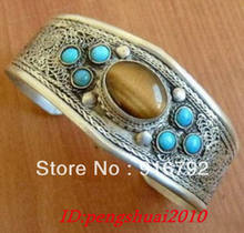 free P&P >>>>>Exquisite Tribe Jewellery Tibet Silver Tiger's eye turquoise men's cuff bracelet(China)