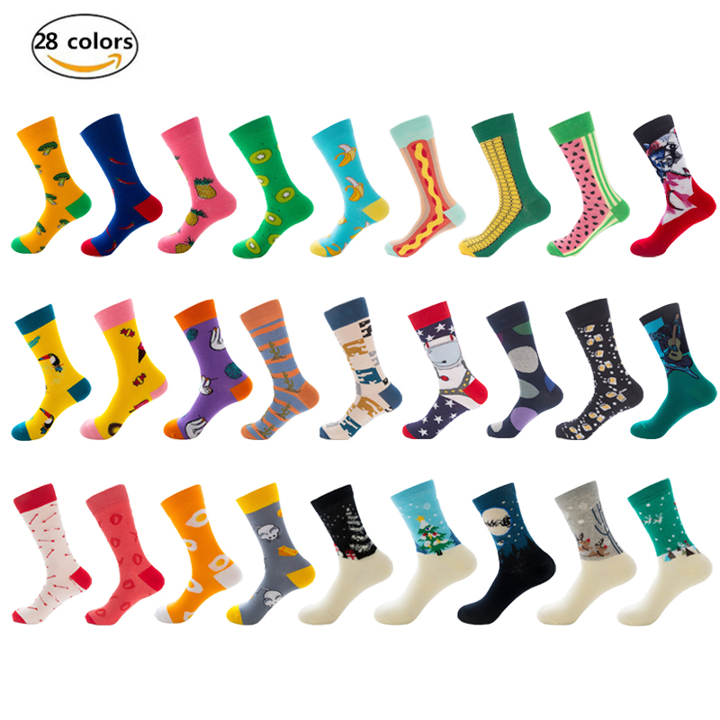 New casual combed cotton men's   socks   Harajuku street hip hop funny happy   socks   colorful variety of patterns men's long   socks
