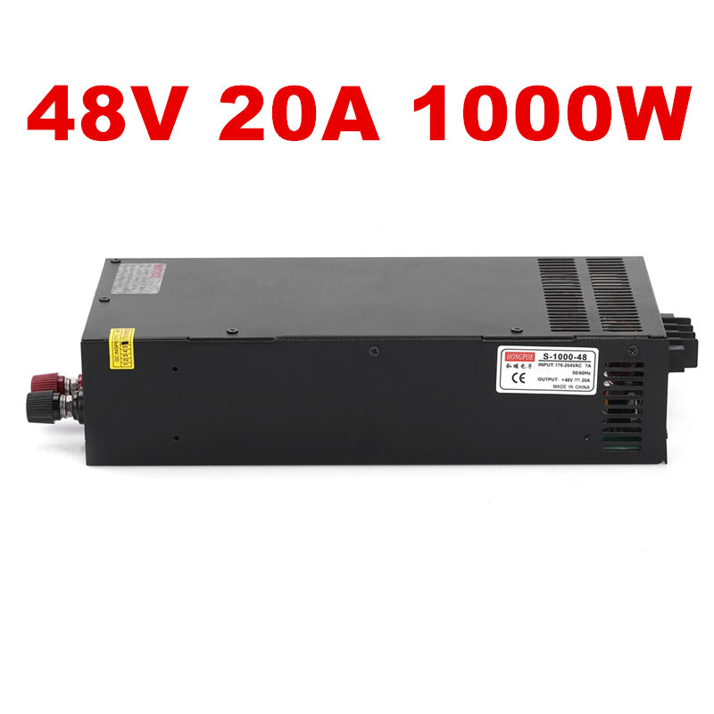 1PCS 1000W 48V 20A Switching power supply 48V20A LED Strip light AC to DC power suply 48V 1000w S-1000-48 1pcs 100w 48v 2a switching power supply input 100 240vac for led strip light ac to dc power suply 100w power supply s 100 48