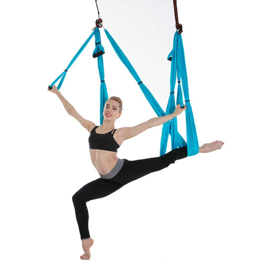 05effc66e3 ... 2.5*1.5m Aerial Yoga Hammock 6 Handles Strap Pilates Home Gym Hanging  Belt Swing ...