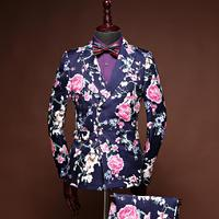 2018 New Brand Fashion Men Suits Floral Jacquard Blazers Wedding Business Slim Fit Suit Double Breasted