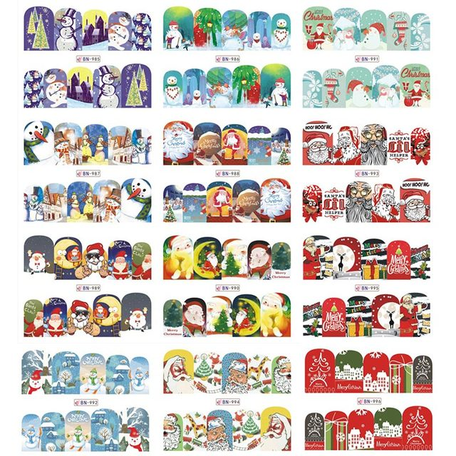 US $0 85 |LadyMisty Christmas Snowman Tree Boots Bells Deer Water Transfer  Nail Art Sticker Decal Slider Manicure Wraps Tool Tips 1 Sheet-in Stickers