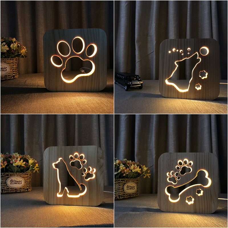 LED Creative USB Night Light Wooden Dog Paw Wolf Head Lamp Kids Bedroom Decoration Warm Light Table Lamp For Children Gift Lamps