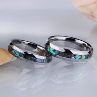 1pcs Romantic Wedding Ring for Lovers/Couples Tungsten Carbide Inlay Colorful Deep Sea Shell Comfort Fit 4mm/5mm Width Size 5 12