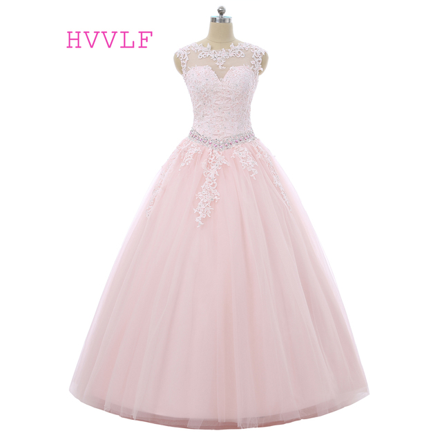 Pink Quinceanera Dresses 2017 Ball Gown Cap Sleeves Tulle Beaded Crystals Appliques Lace Cheap Sweet 16 Dresses
