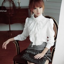 Fashion Women's Luxury Flouncing Long Sleeve Stand Collar Tops Ruffle OL Shirt Blouse Drop Shipping  b9