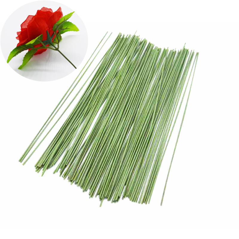 50pcs Dark Green Wire Artificial Silk Flowers Stem Diy