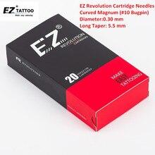 EZ New Revolution Needle Cartridge #10 Bugpin Long Taper Curved Magnum Tattoo for Machine 20PCS/Box