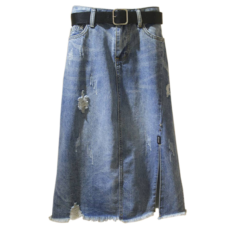 Spring Summer Skirt Women's New High Waist Harajuku Korean Was Thin In The Long Section Denim Skirt Large Size Wild A Word Skirt