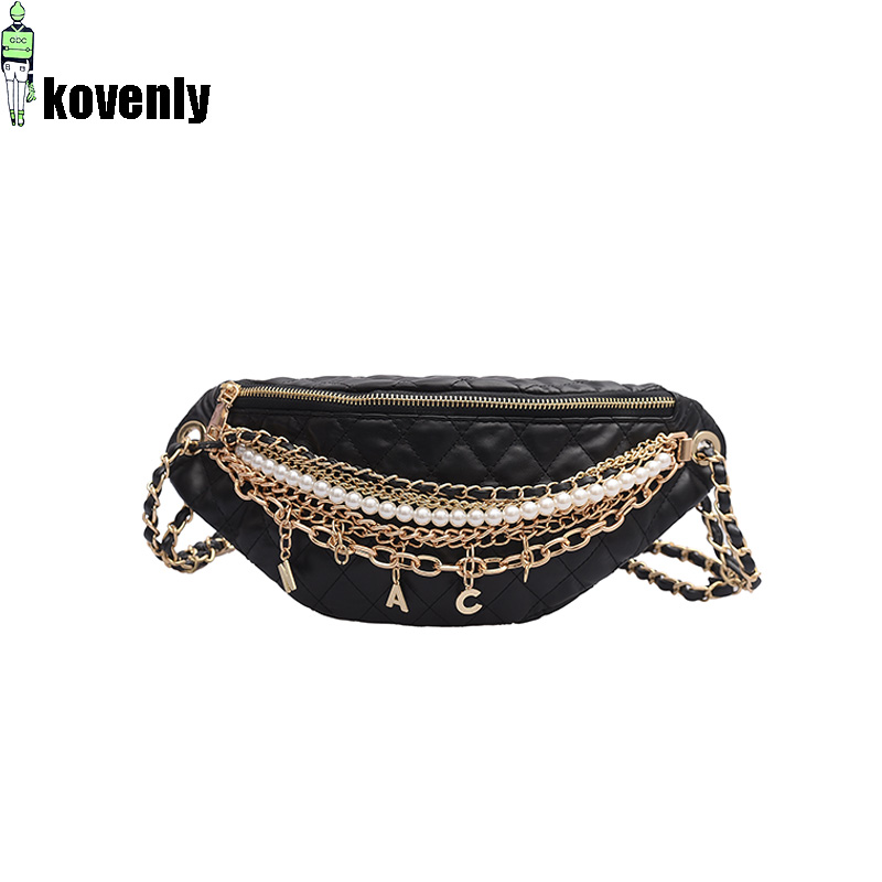Shoulder Bag Women Leather Crossbody Bag Chain pearl Chest bag High Quality Messenger Bags Banana Pack Luxury-in Shoulder Bags from Luggage & Bags