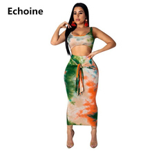 Summer 2 Piece Set Colorful Print Crop Top and Skirt Beach Sexy Skirt Set  Sleeveless Tank Top Lace Up Midi Skirt Bodycon Outfit