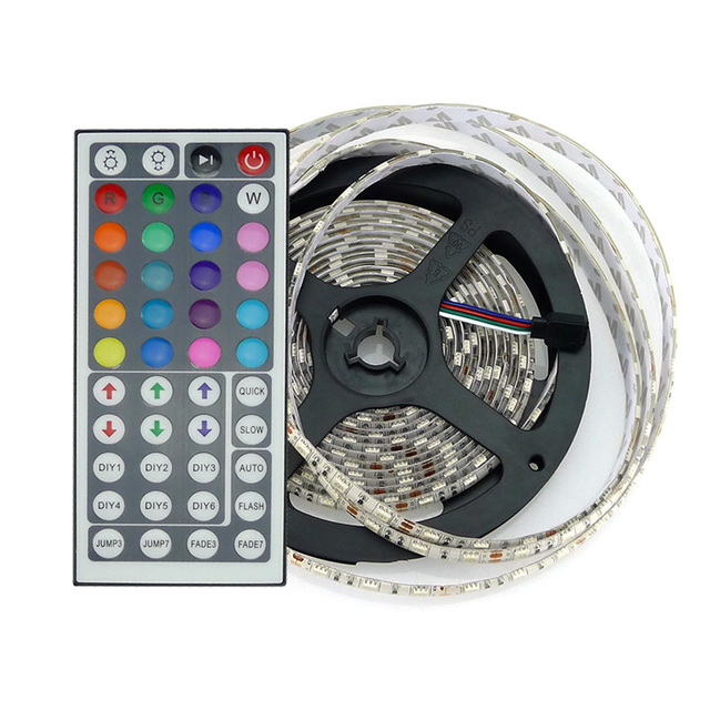 Christmas Decoration RGB LED Strip 5050 Waterproof LED Strips Lamp 5M 60 LEDS Flexible Light 44keys IR Remote Controller DC12V