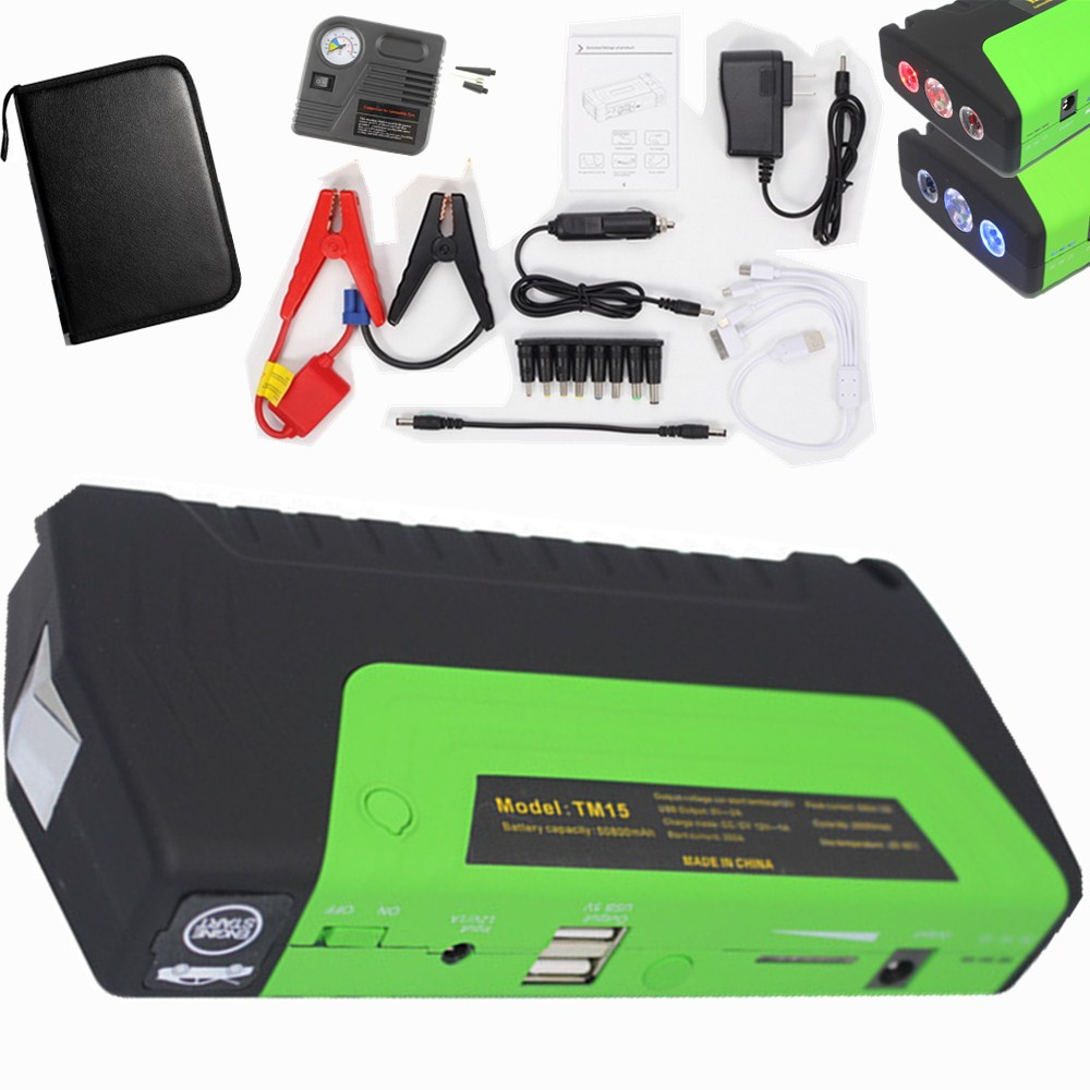 wholesale Super Car Jump Starter Vehicle AUTO Engine Booster Emergency Start Battery Portable Charger Power Bank with pump 2USB portable car jump starter power bank rechargeable start battery source aa usb power bank charger