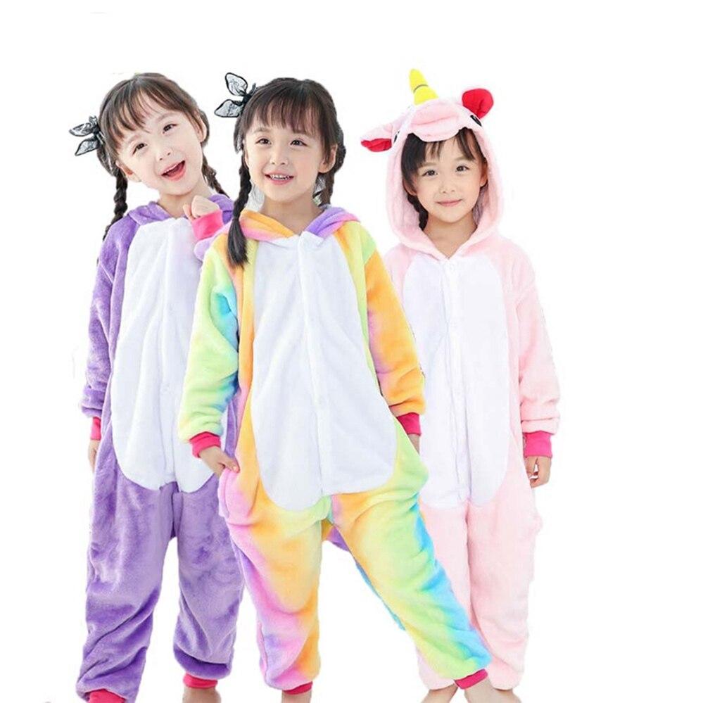 b05b2af01558 Children Pajamas for Girls Boys Pajamas Unicorn Kids Onesies Cartoon  Animals Hooded sleepwear Boy pyjama for 4 -12 Years