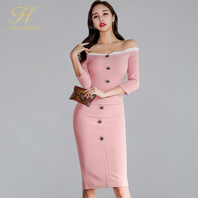 8614e421 H Han Queen Sexy Off Shoulder Slash Neck Pencil Dress Women 2019 Spring  Summer Sheath Dresses OL Single-breasted Bodycon Vestido