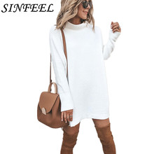 SINFEEL Long Sleeve Turtleneck Knitted Dress Women Casual Autumn Winter White Female Sexy Elegant Pullover Mini Dresses