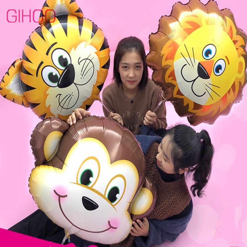 1 pc Venda Quente Grande Cabeça de Animal Balões Folha Forma Dos Desenhos Animados de Animais Decoração da Festa de Aniversário de Alumínio Balão Crianças Brinquedos Do Miúdo