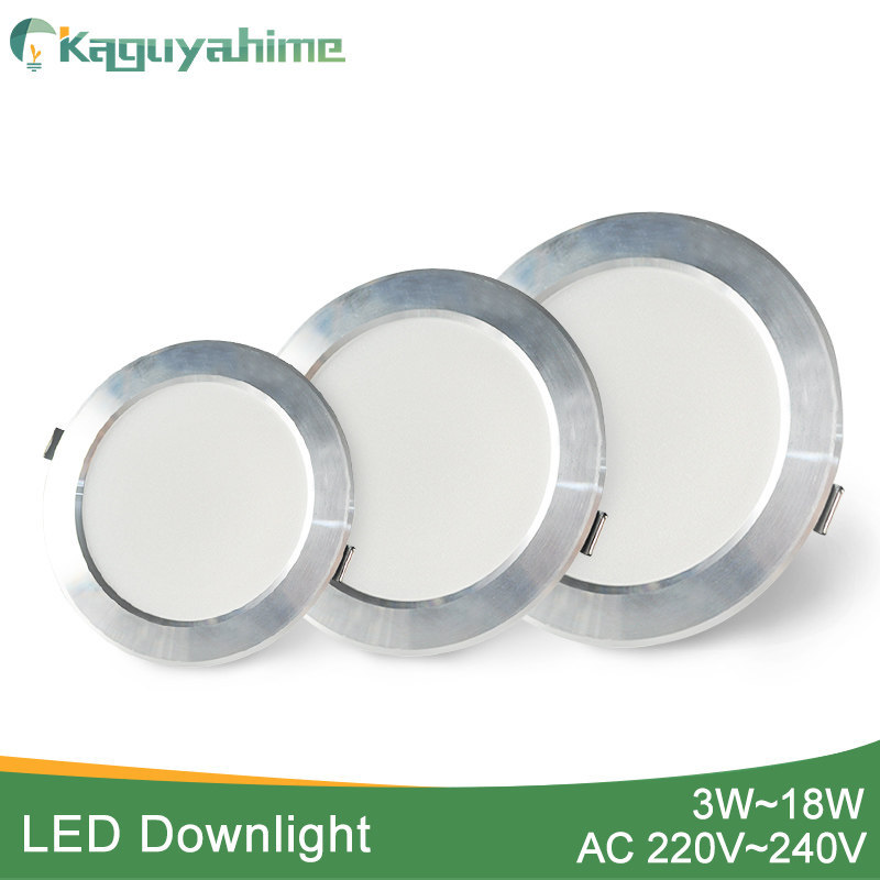 Kaguyahime 1pc/4pcs 3W-18W LED Downlight 220V Silver White Ultra Thin Recessed LED Spot Lighting For Kitchen Ceiling Indoor 15W