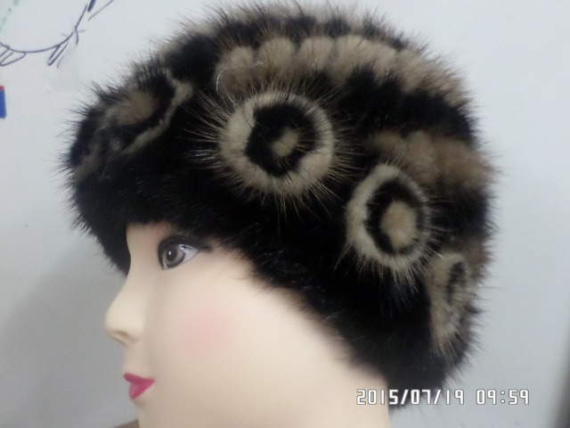 The real mink Woven fur Flower hat