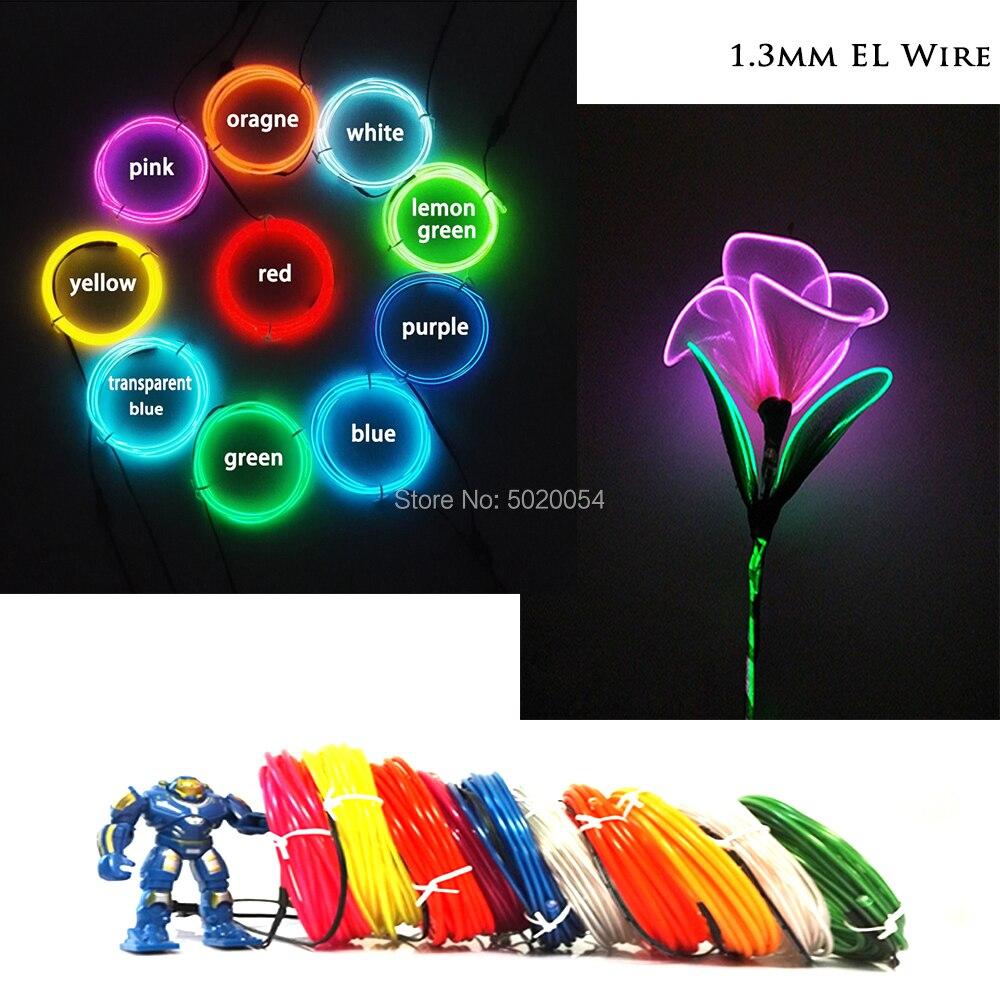 1M Long 1.3mm Dia Flexible EL Wire Rope Dance Costume Decor Neon Light Waterproof Glow Car Rope Strip Light