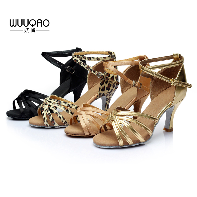 WUUQAO Brand New Women Dance Shoes Heeled Tango Ballroom Latin Salsa Dansskor för kvinnor Hot Sales