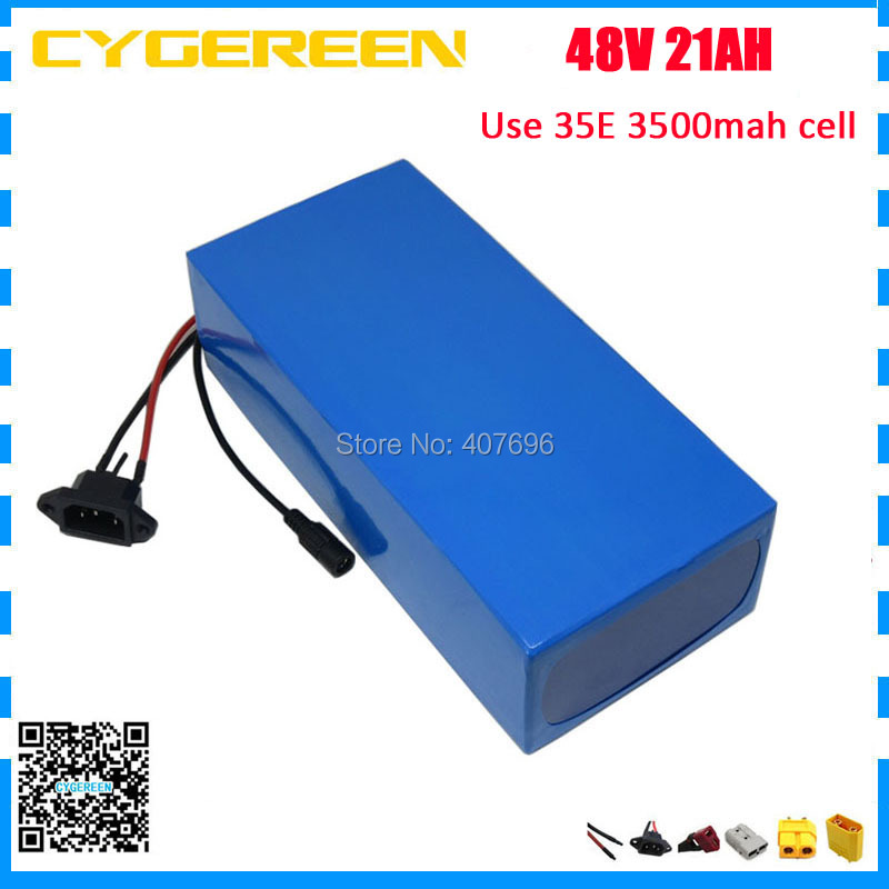 1000W 48V electric bike battery 48V 21AH scooter lithium ion battery 48V PVC Akku use 35E 3500mah cell 30A BMS With 2A Charger1000W 48V electric bike battery 48V 21AH scooter lithium ion battery 48V PVC Akku use 35E 3500mah cell 30A BMS With 2A Charger