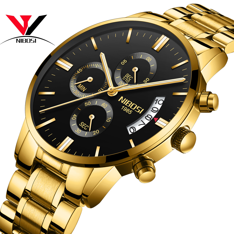Relogio Masculino NIBOSI Sports Watches For Men Military Army Analog Chronograph Men Watch Stainless Steel Dress