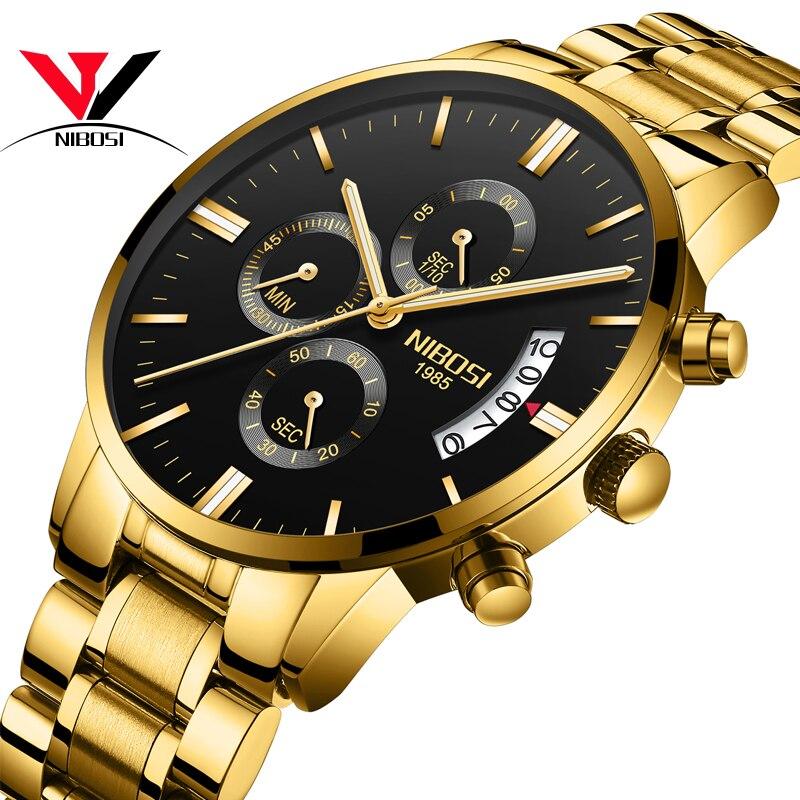 Reloj Masculino De Luxo NIBOSI relojes ejército militar resistente al agua reloj analógico De los hombres De acero inoxidable vestido reloj Masculino